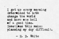 E.B. White quote on changing the world and enjoying it - peoplewhowrite